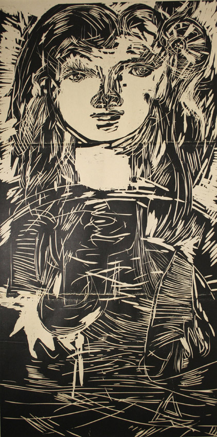 「One-Woman」 Woodcut - 182×91cm <2008>