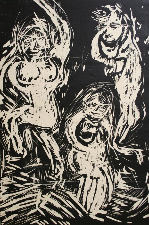 「Dance-III」 woodcut - 91.5x60.5cm <2008>