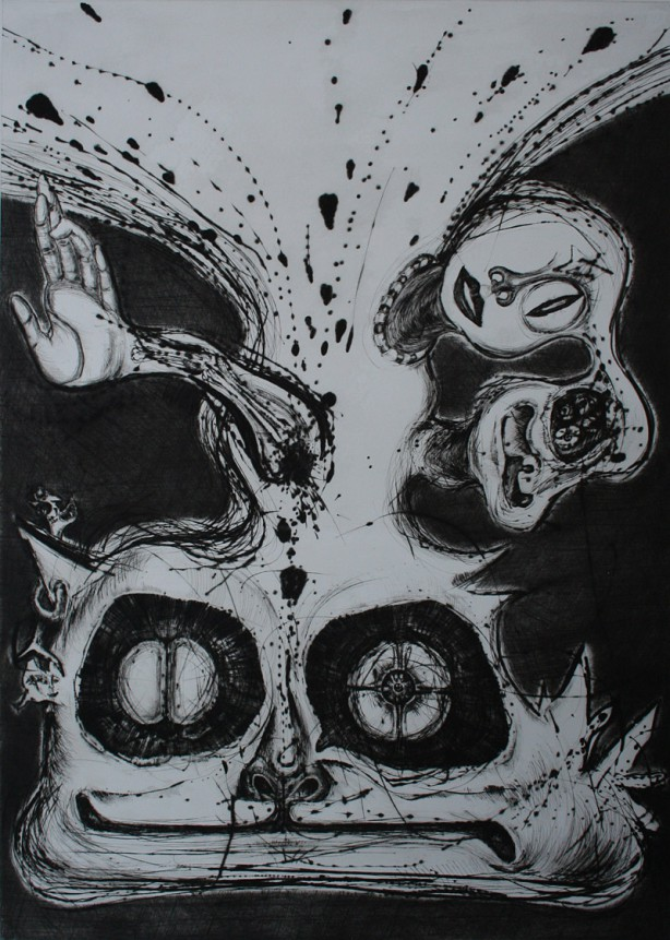 「Red of the Universe-I」 Dry point - 97.5x69cm <2001>