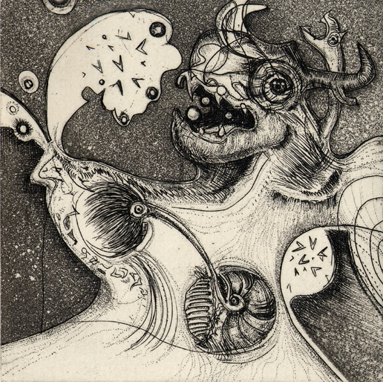 「Red of the Universe-12 」  Etching, Aquatint, Roulette <2004>