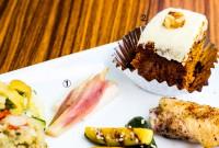 1:長芋とみょうがのピクルス 2:キャロットケーキ - 1:Chinese yam and zinger mioga pickles 2:Carrot cake