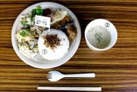 today's menu ①ごはん(特製おかかふりかけ) ②かぶの味噌ポタージュ