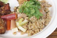 鶏肉と大豆のエスニッック玄米チャーハン(Ethnic fried brown rice with chicken and soybean)
